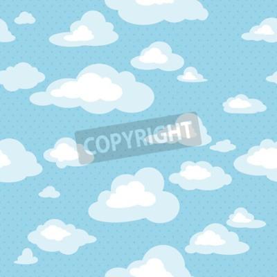 Carta da parati Cielo blu con nuvole, vettore senza soluzione di continuità