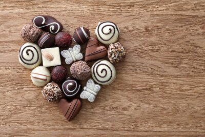 Carta da parati Cioccolato caramelle cuore