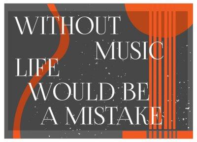 Carta da parati Citazione Inspirational senza musica la vita sarebbe un errore. Tipografia Poster Concept. Chitarra silhouette background.Idea per design a tema musicale. Illustrazione vettoriale.
