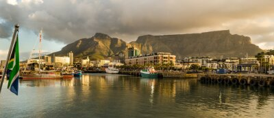 Carta da parati Città del Capo, Sudafrica, Litorale, tramonto, Table Mountain