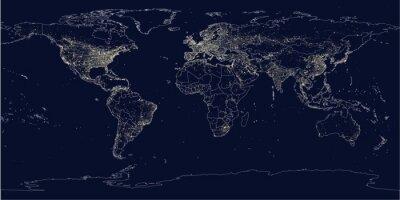 Carta da parati città della Terra si illumina mappa politica