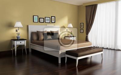 Classic, bianco e oro, camera da letto di lusso, con pavimento carta ...
