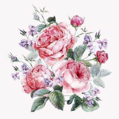 Carta da parati Classica Vintage biglietto di auguri floreali, bouquet di acquerello