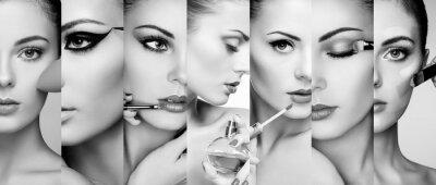 Carta da parati collage di bellezza. Volti di donne. Foto di moda. Makeup artist applica il rossetto e ombretto. applicazione profumo donna