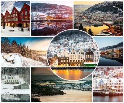Carta da parati collage di inverno e attrazioni a Bergen