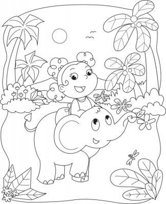 Carta da parati Colorare illustrazione di una ragazza in sella a un elefante