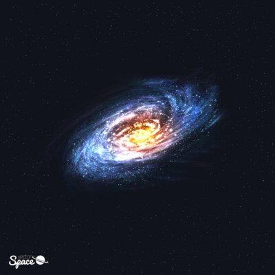 Carta da parati Colorato realistico galassia a spirale su Space Background. Illustrazione vettoriale.