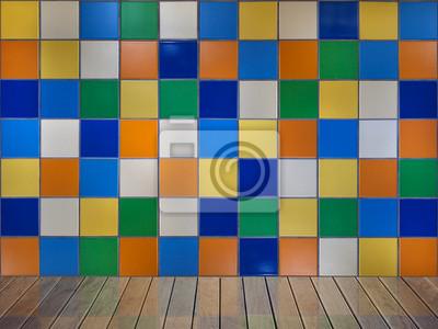 Colore saturo muro piastrella quadrata con marrone lucido