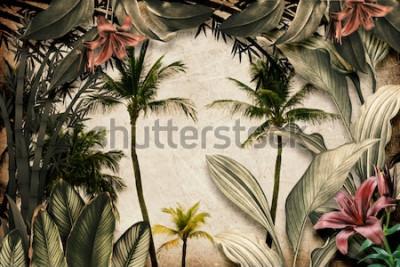 Carta da parati Colored Tropical Flowers wallpaper illustration