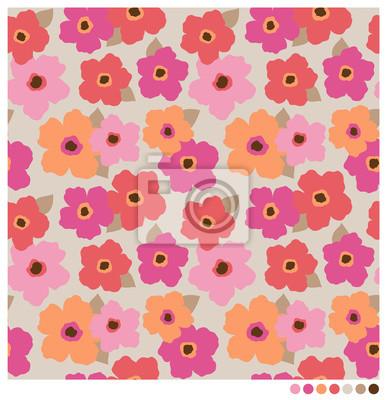 Carta da parati Colorful senza soluzione di continuità vettore fiori modello.