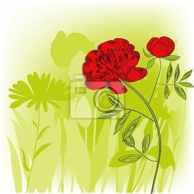 Colorful Sfondo Verde Con Fiori Di Peonia Rossa Carta Da Parati