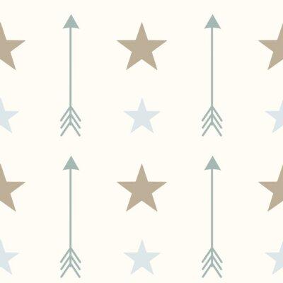 Carta da parati colori stile frecce nordici e stelle senza soluzione di vettore di fondo del modello illustrazione