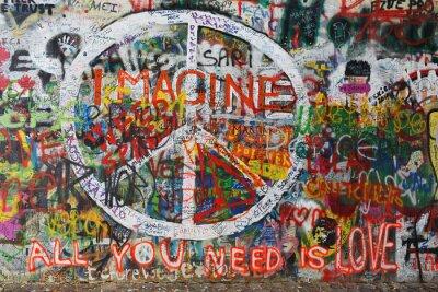 Carta da parati Colorito graffiti pace sulla parete