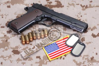 Carta Da Parati Mimetica.Carta Da Parati Colt 1911 Pistola Su Mimetica Usmc Uniforme