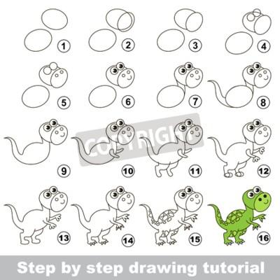 Carta da parati Come disegnare la divertente Tyrannosaurus. Disegno  tutorial per i bambini. 6e3ffe453f08