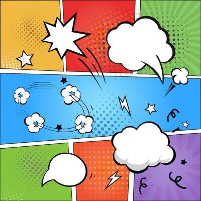 Carta da parati Comic strip  and comic speech  bubbles on colorful halftone