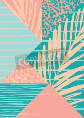 Carta da parati Composizione astratta estate con disegnata a mano texture vintage ed elementi geometrici. Modello di vettore per il manifesto, copertina, carta di progettazione e gli altri utenti.