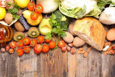 Carta da parati Composizione con la dieta e cibo sano