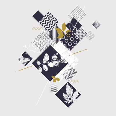 Carta da parati Composizione geometrica astratta con elementi botanici