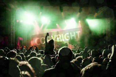 Carta da parati Concerto rock, sagome di persone felici che alzano le mani
