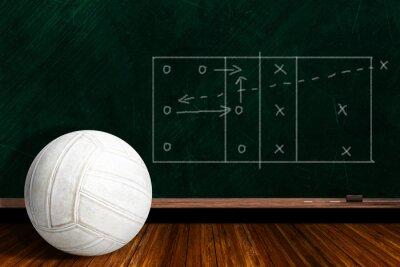 Carta da parati Concetto di gioco con pallavolo e Lavagna Strategy Gioco