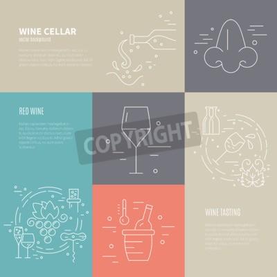 Carta da parati concetto di vettore di Vinificazione con simboli diversi del settore del vino tra cui vetro, uva, bottiglia, Corckscrew con testo di esempio. Sfondo perfetto per il design del vino legati.