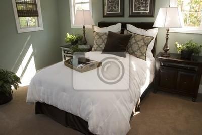 Carta da parati: Confortevole camera da letto di design moderno.