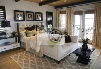 Confortevole camera da letto di design moderno. carta da parati ...