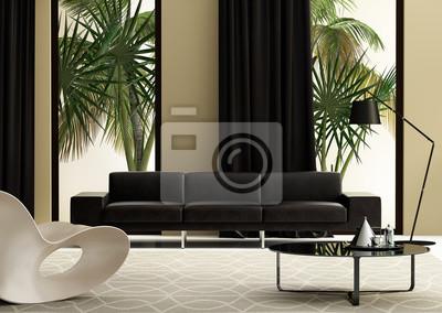 Contemporanea soggiorno con divano in pelle e un giardino carta da ...