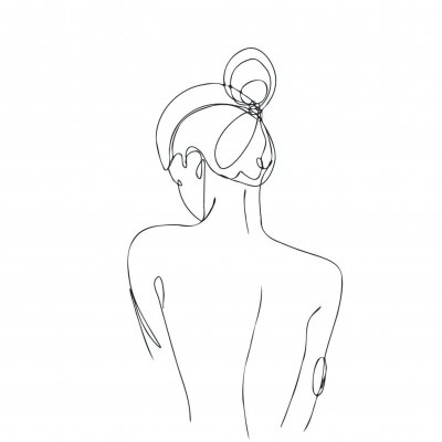 Carta da parati Continuous line drawing. Woman body. Vector Illustration for spa, tshirt, nails, poster