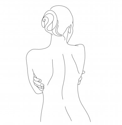 Carta da parati Continuous line drawing. Woman body. Vector Illustration for spa, tshirt, nails, poster. vector image of a woman. one line sketch