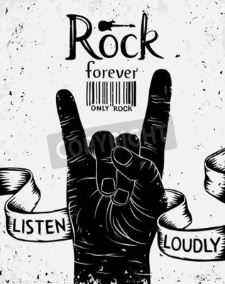 Carta da parati Contrassegno dell'annata con il rock per sempre. Rock and roll mano segno