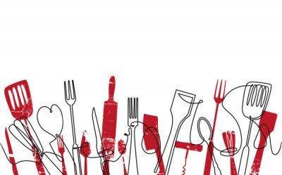 Carta da parati Cooking Seamless Pattern. Outline Cutlery Background. Trendy One Line Drawing.  Isolated Kitchen Utensils. Cooking Design Poster. Vector illustration.