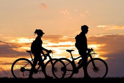 Carta da parati coppia con moto al tramonto