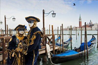 Carta da parati Coppia in maschera di carnevale a Venezia.