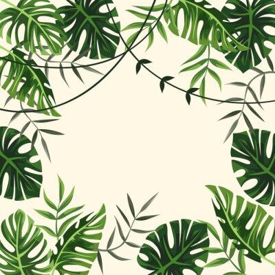 Carta da parati cornice tropicale. sfondo. fogliame. illustrazione vettoriale