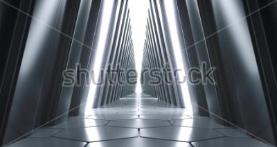 Carta da parati Corridoio di Fantascienza realistico futuristico grande con luci bianche e riflessioni. Rendering 3D