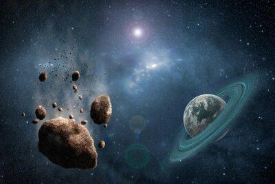 Carta da parati Cosmos scena con asteroidi, pianeta e nebulosa nello spazio