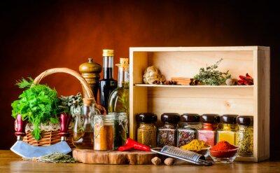 Carta da parati Cottura degli ingredienti, spezie ed erbe