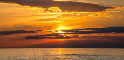 Carta da parati coucher de soleil à Audresselles