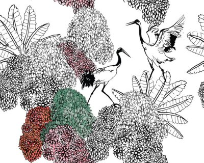 Carta da parati Couple of Cranes in Rajastan Blooming Bushes and Tropical Leaves, Black and White Doodle Drawing Wildlife Exotic Bushes, Tropical Birds in Jungle Textile Design on White Background