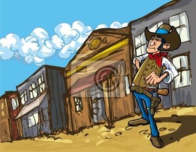 Cowboy del cartone animato in una vecchia città western carta da