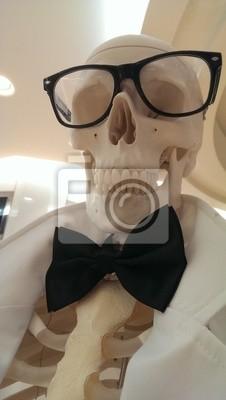 Carta da parati Cranio dell'uomo con gli occhiali, camice bianco e farfallino
