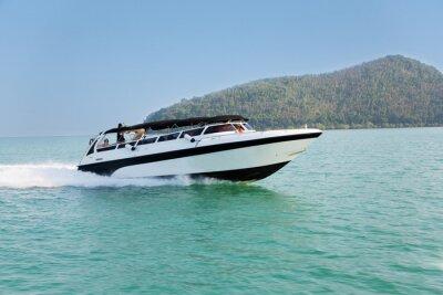 Carta da parati Cruise velocità della barca nel mare delle Andamane, Thailandia