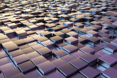 Carta da parati cubi metallici viola