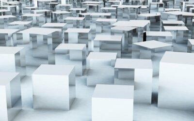 Carta da parati cubo di massa 3D riflessione metallo acciaio