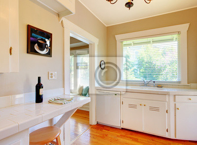 Cucina bianca con pavimento in legno di ciliegio. carta da parati ...