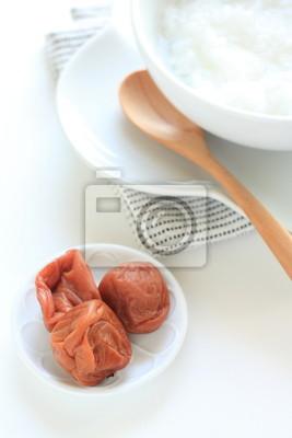 Cucina giapponese, sana colazione porridge di riso e prugna carta da ...