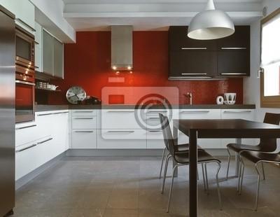Cucina moderna con alzata di piastrelle rosse carta da parati