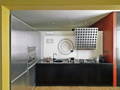Cucina moderna con pavimento di legno carta da parati • carte da ...